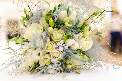 Bouquet of White Roses on Table