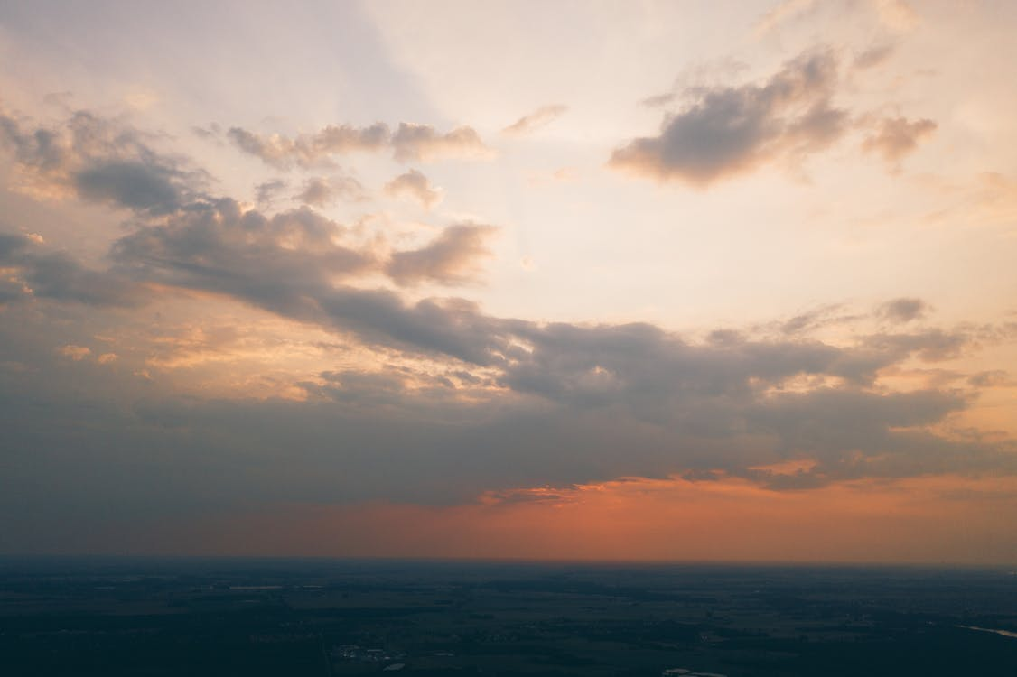 aerial, clouds, drone