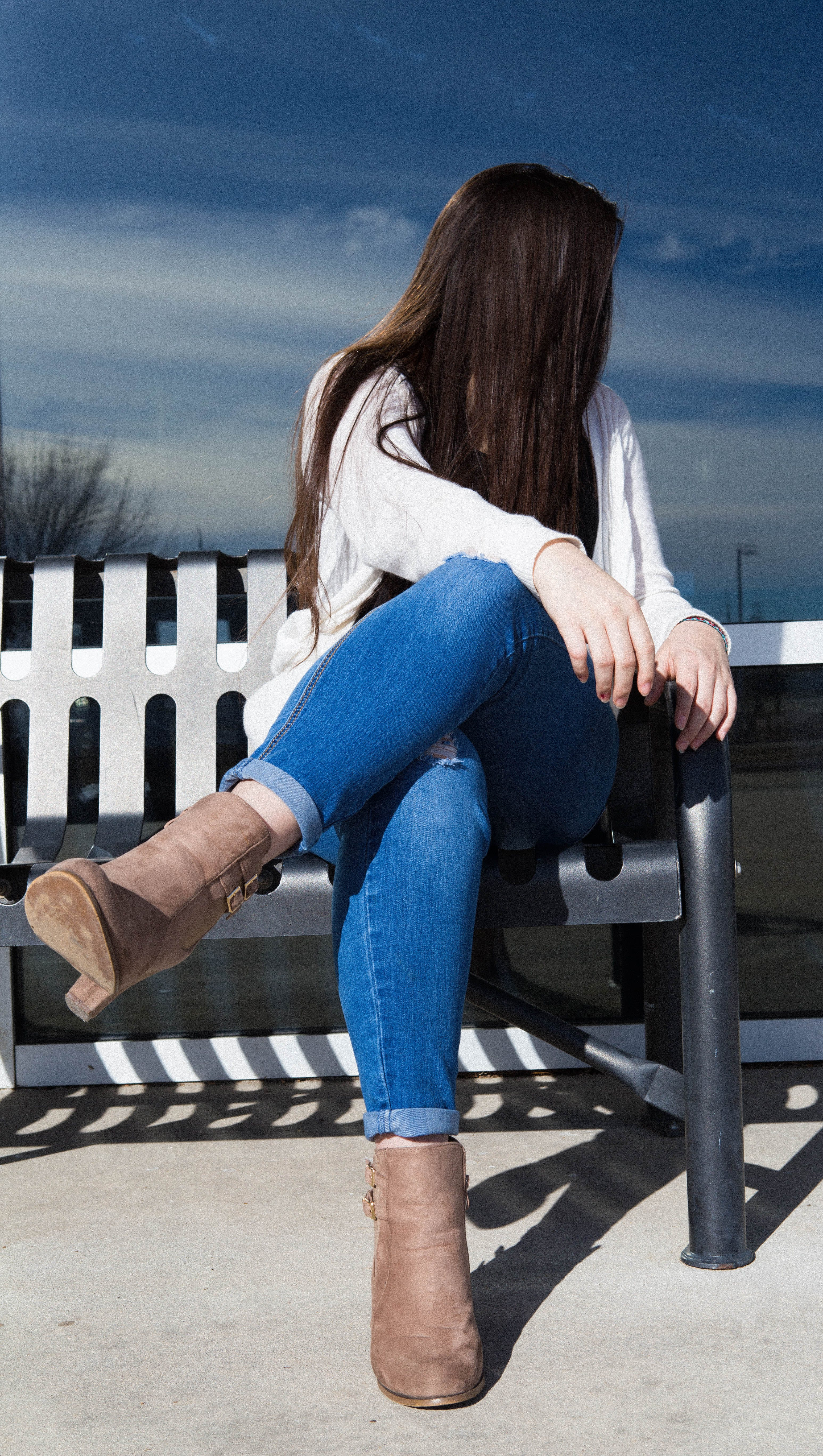 Free stock photo of bench, boots, denim, girl