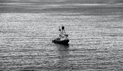 Free stock photo of artistic, black and white, boat, fishing