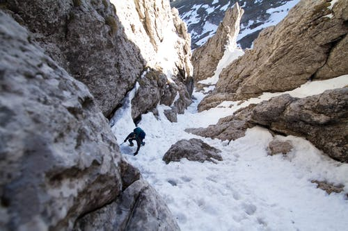 Uomo Che Cammina Tra Rock Mountain Con La Neve