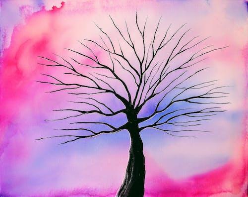 Fotobanka sbezplatnými fotkami na tému abstraktná maľba, abstraktné umenie, maľovanie stromov, ružová a fialová