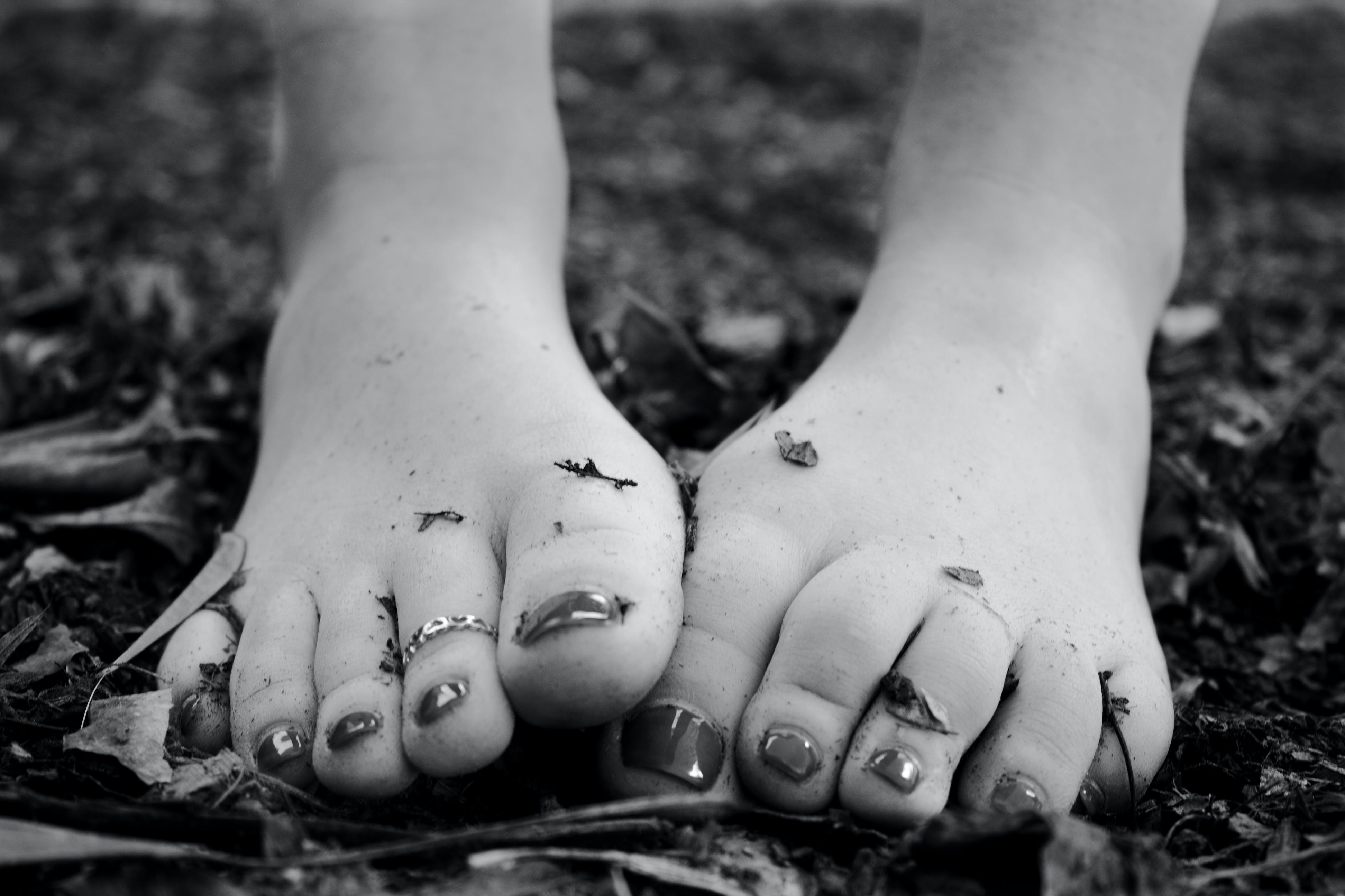 Free stock photo of black and white, dirt, feet, female