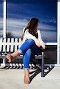 bench, sky, girl