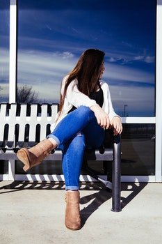 Free stock photo of bench, sky, girl, sitting
