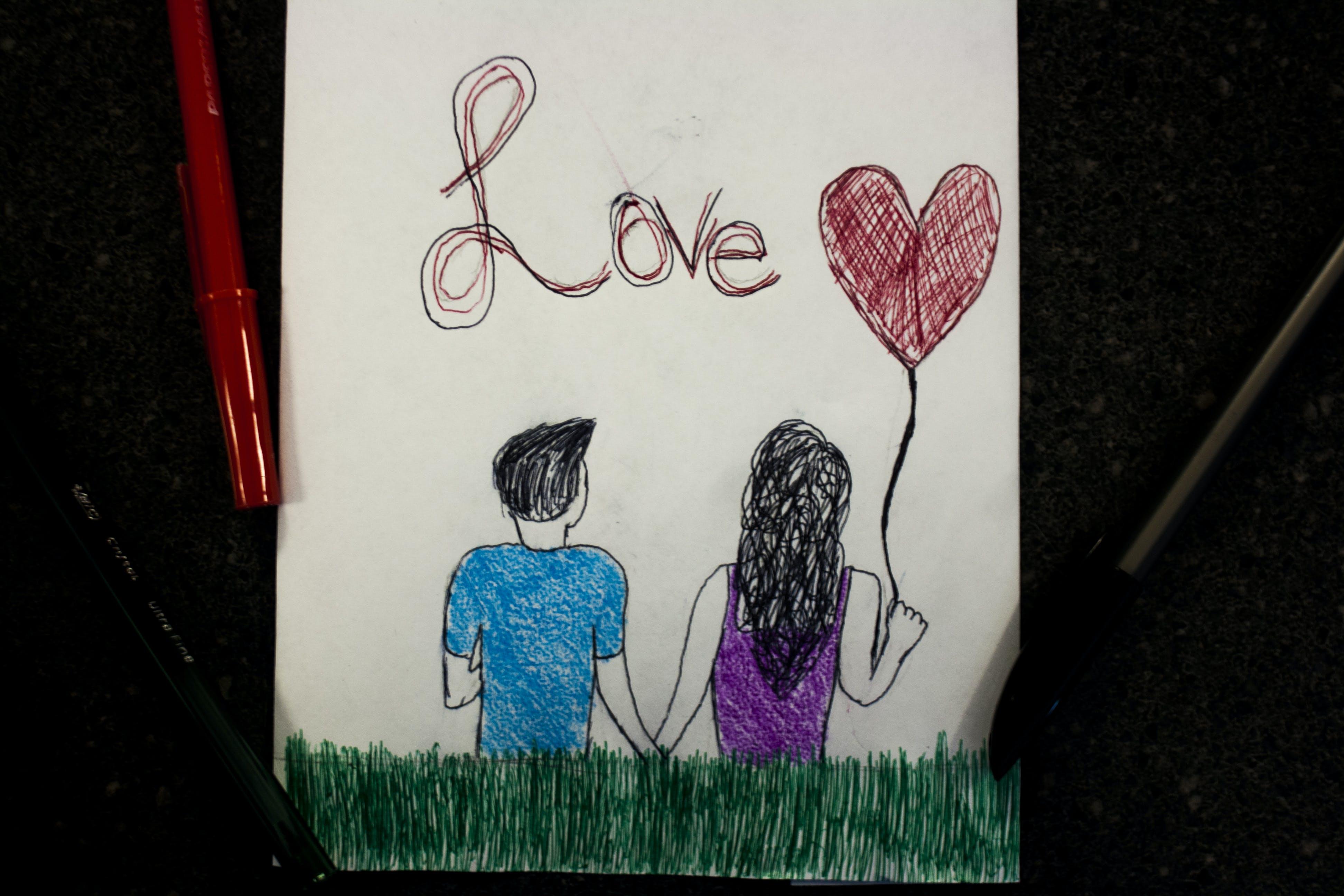 Free stock photo of love, art, heart, pen