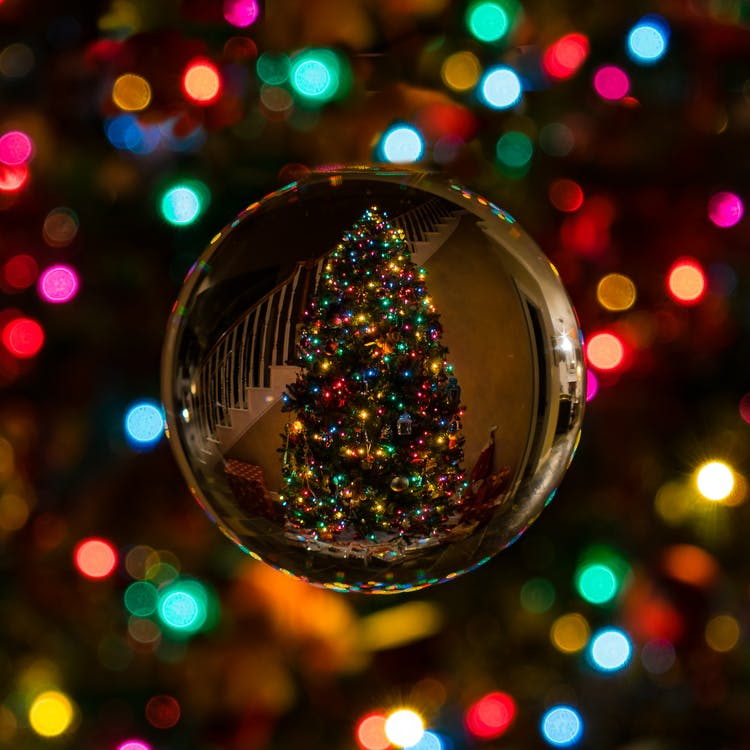 Glass Bauble Reflecting Christmas Tree