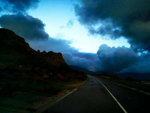 Free stock photo of clouds, country road, winter is coming