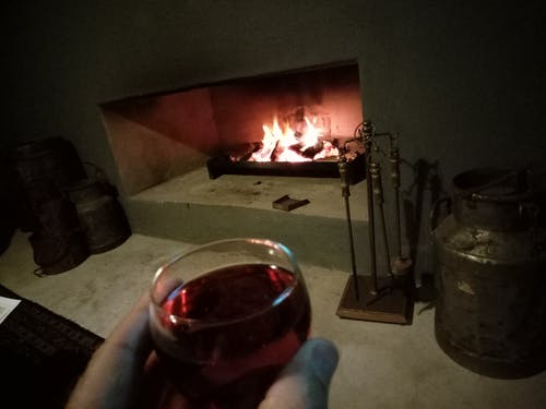 Free stock photo of cosy, fireplace, red wine