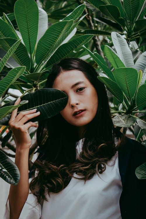 aantrekkelijk mooi, Aziatische vrouw, bladeren