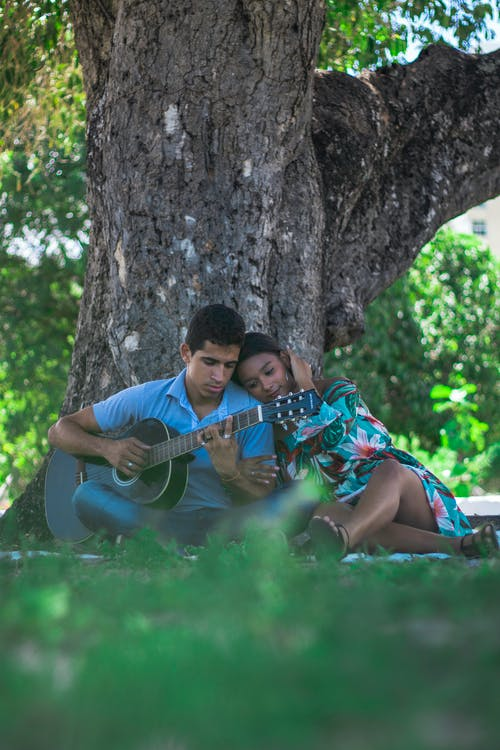 Free stock photo of acoustic guitar, adolescent, beach, couple