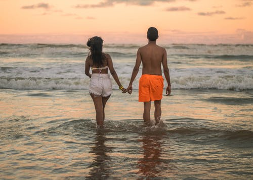 Free stock photo of adolescent, beach, clouds, couple