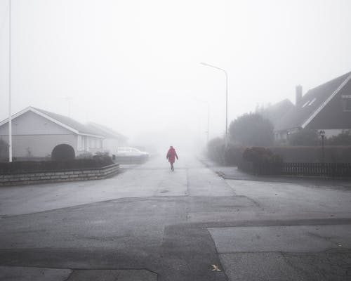 Free stock photo of empty, fog, red, scary