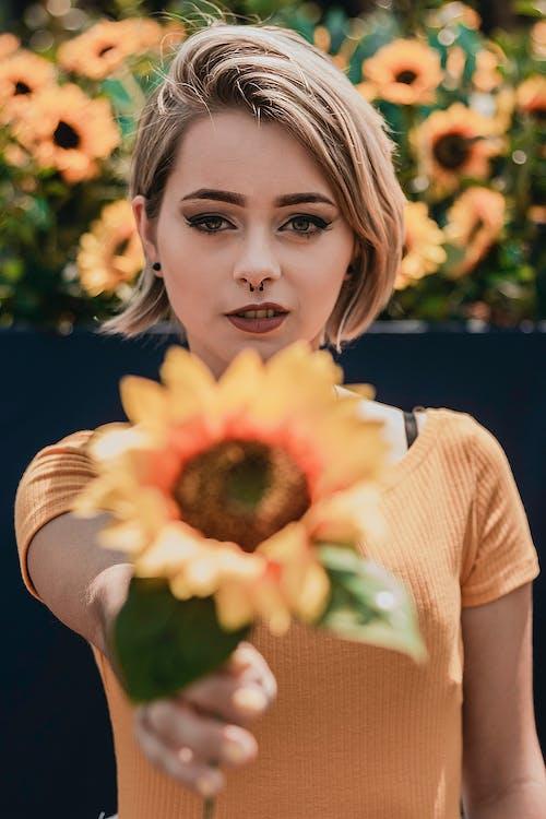금발, 노란색, 사진 촬영