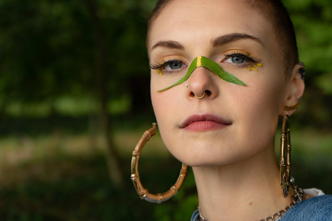 Woman with Leaf on her Nose