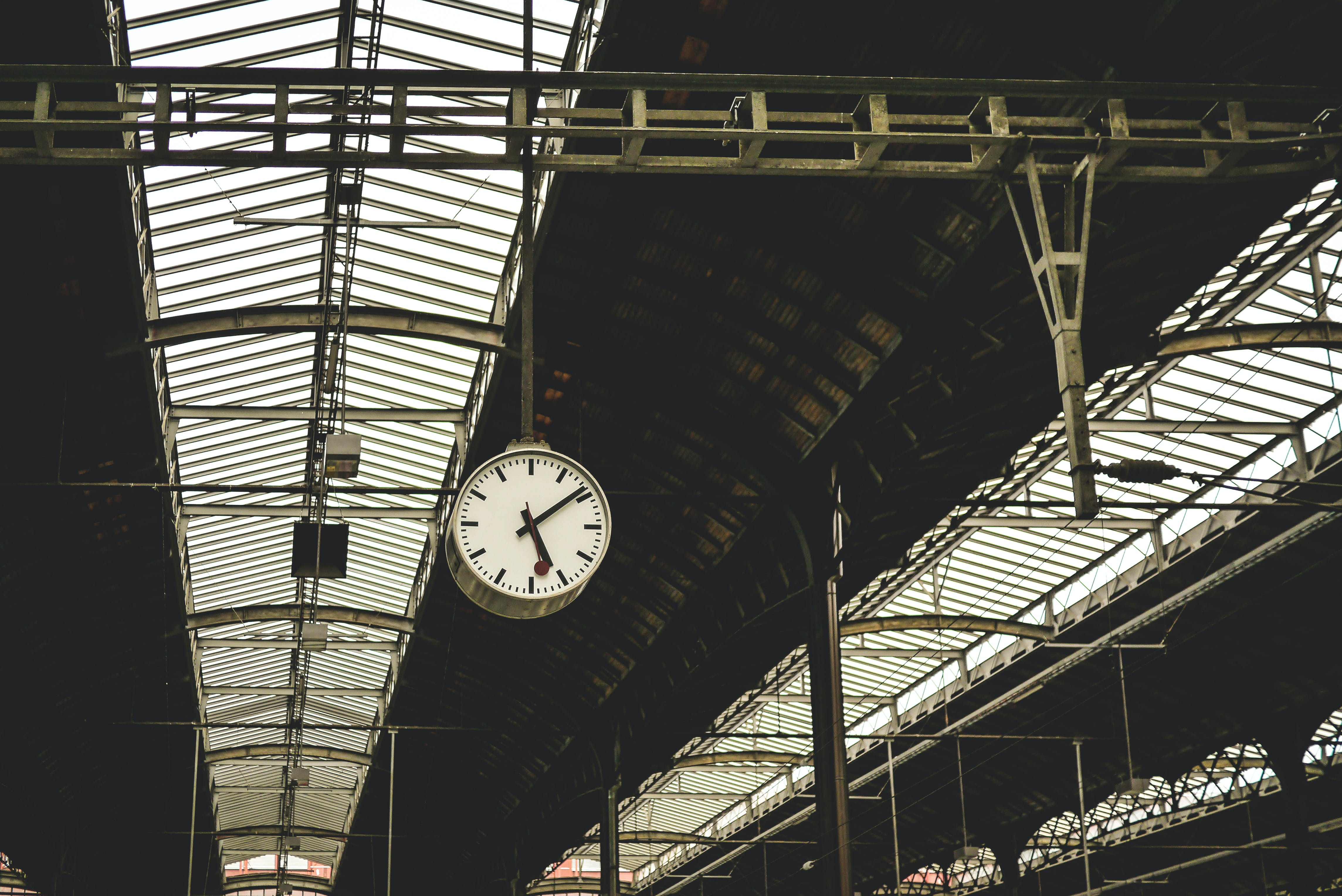 Low Angle View of Clock at Railroad Station