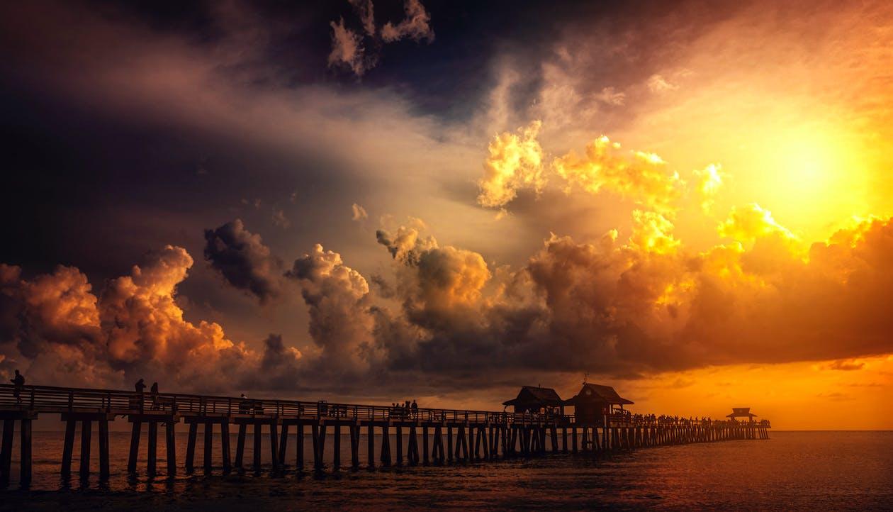 Boardwalk in Ocean during Golden Hour