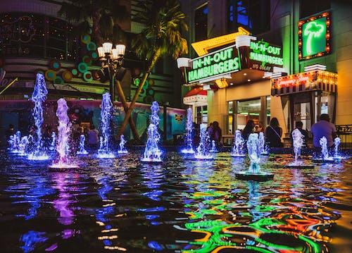 反射, 拉斯維加斯, 水, 燈光 的 免費圖庫相片