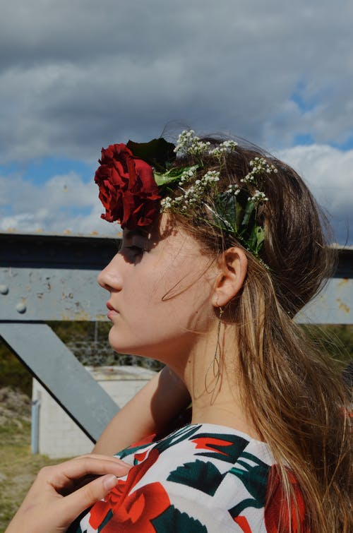Woman Wearing A Flower Crown