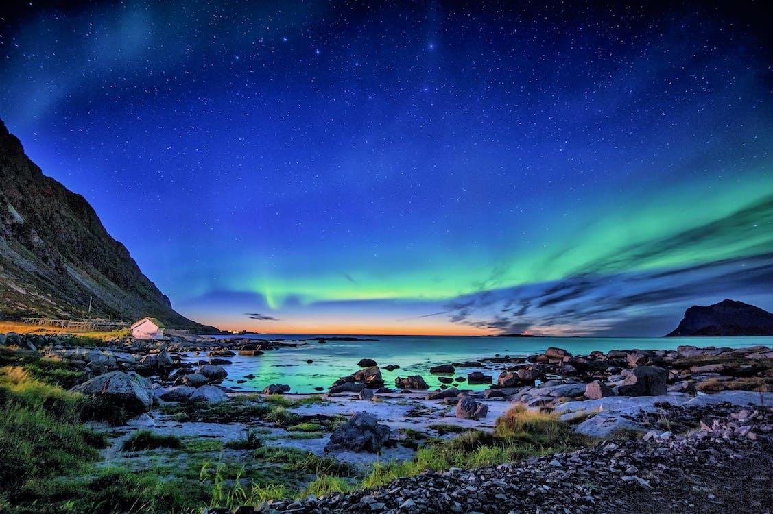 вечер, живописный, море