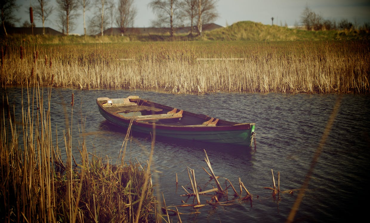 Brown and White Wooden Boat on the River