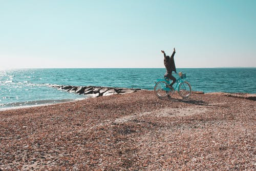 Free stock photo of beach, bike, blue sky, carefree