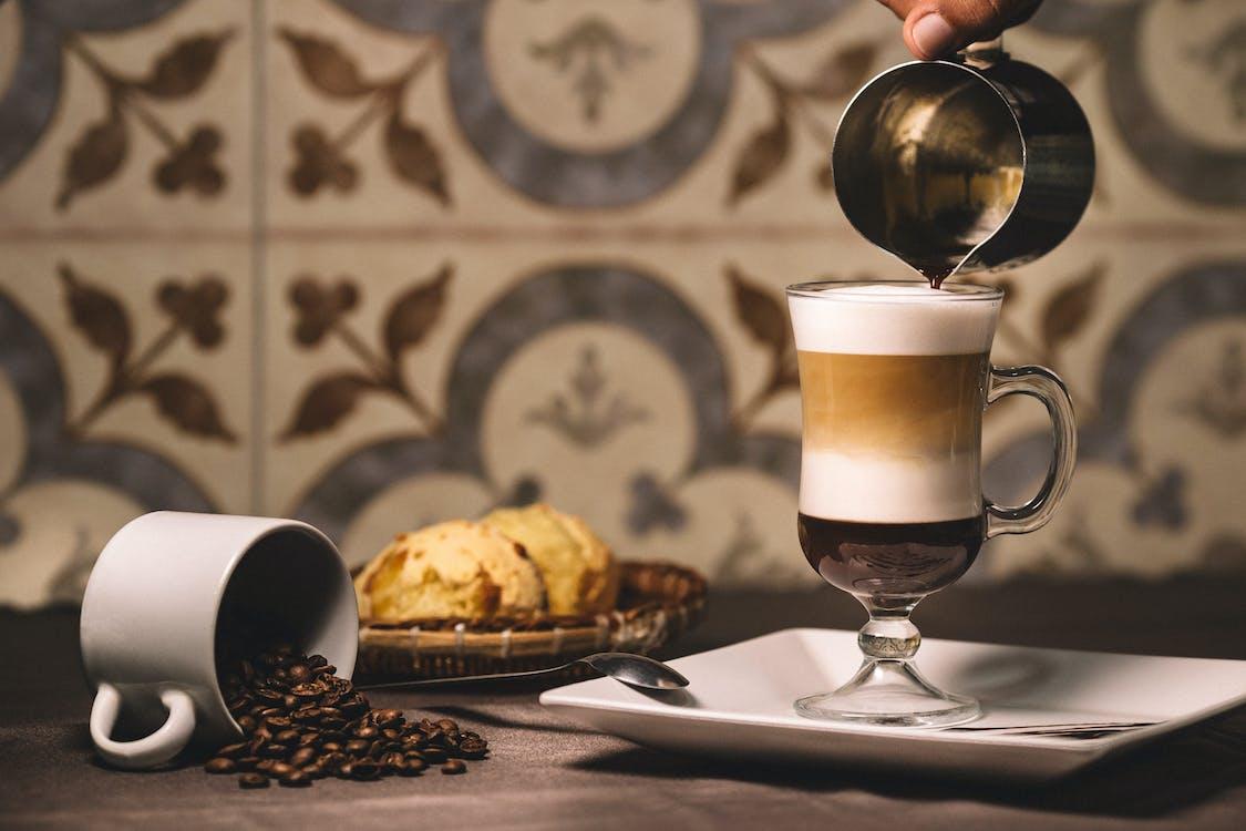 brød, cappuccino, delikat