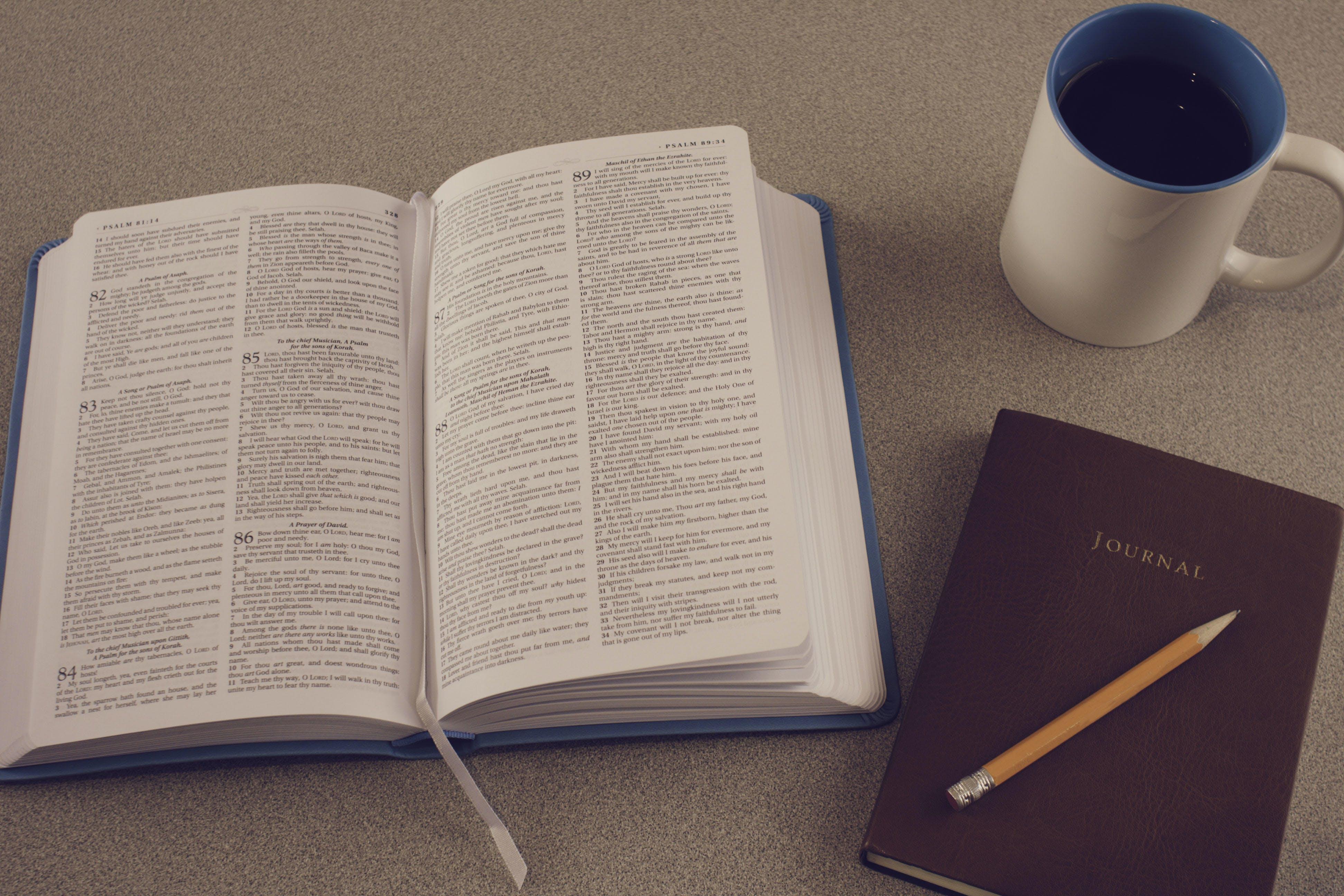 Free stock photo of bible, bible study, black coffee, book