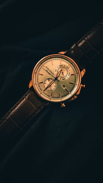 Black Leather Strap Gold Round Chronograph Watch