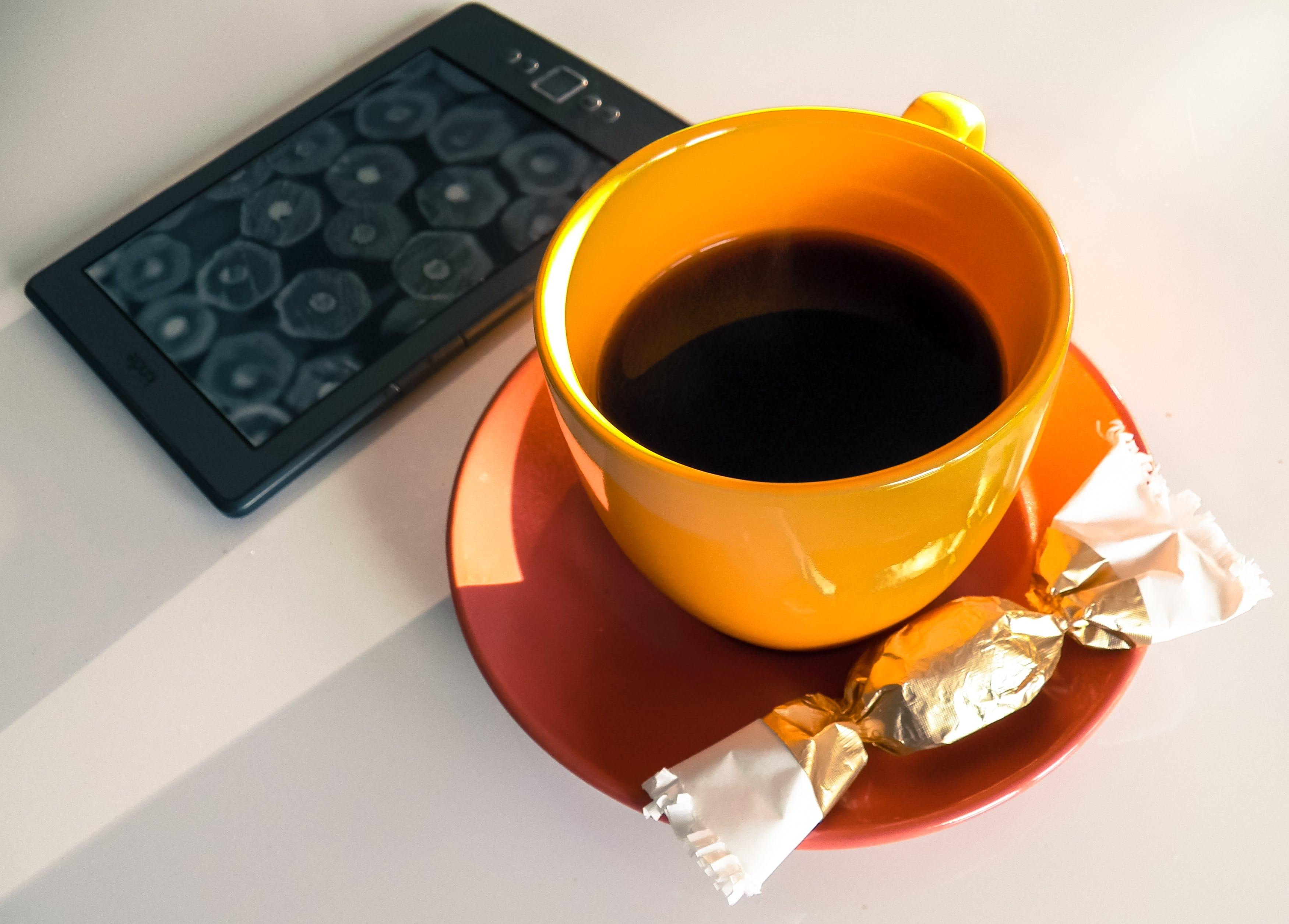 Free stock photo of black coffee, book, calm, candy