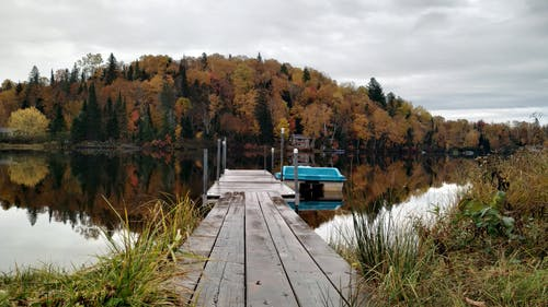 Free stock photo of boat, deck, fall colors, lake