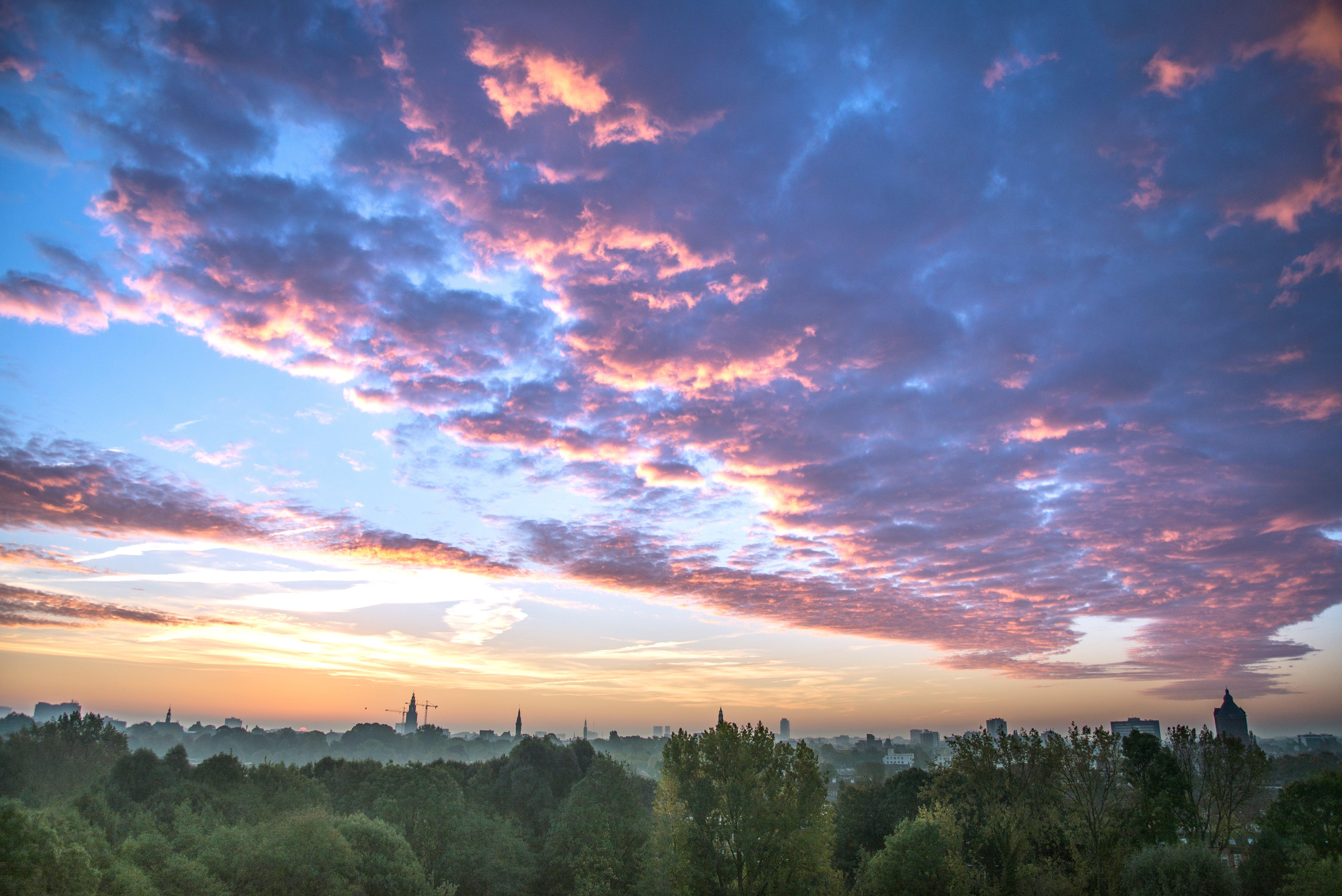 Free stock photo of city, clouds, sunrise, fog