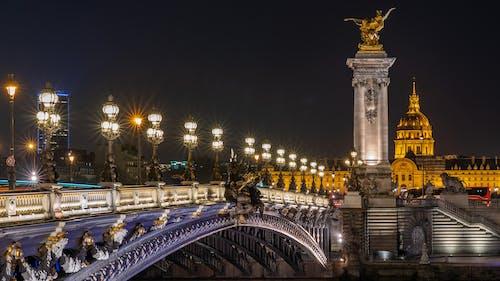 açık hava, akşam karanlığı, aydınlatılmış, Fransa içeren Ücretsiz stok fotoğraf
