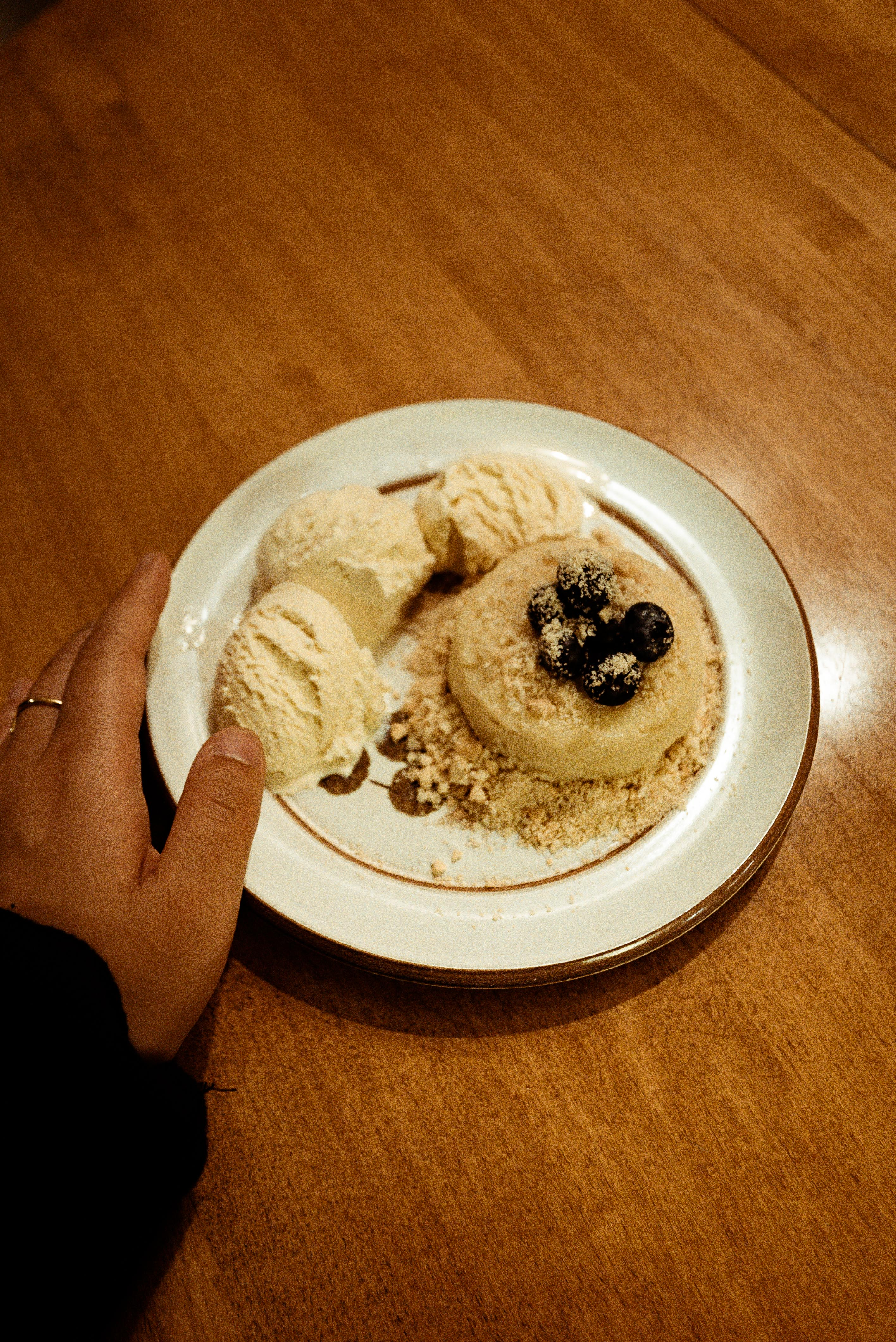 Ice Cream Served on White Plate