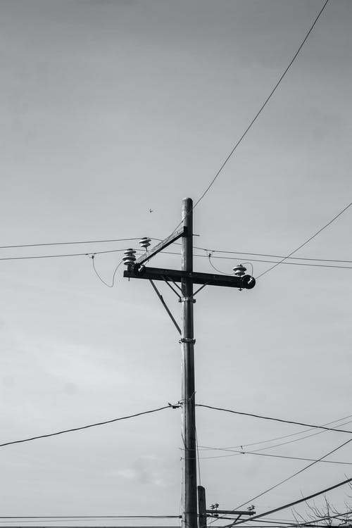 Monochrome Photo of Utility Pole