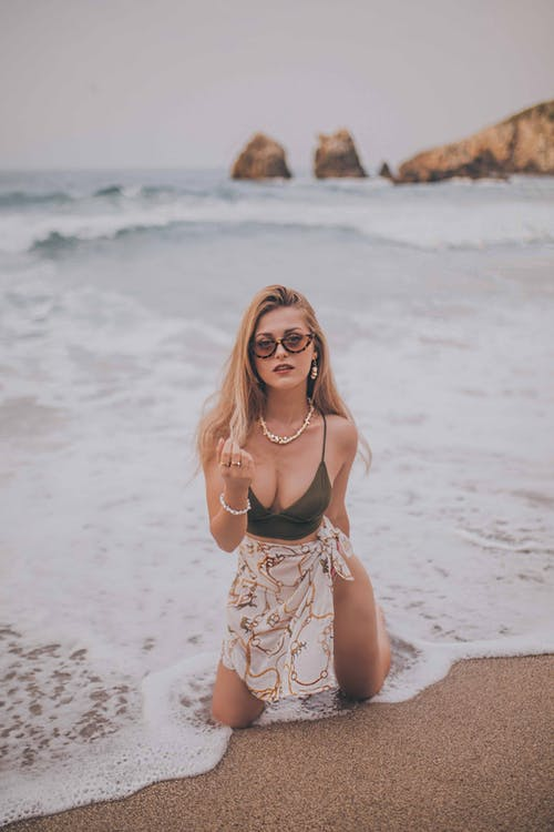 бикини, вода, волны