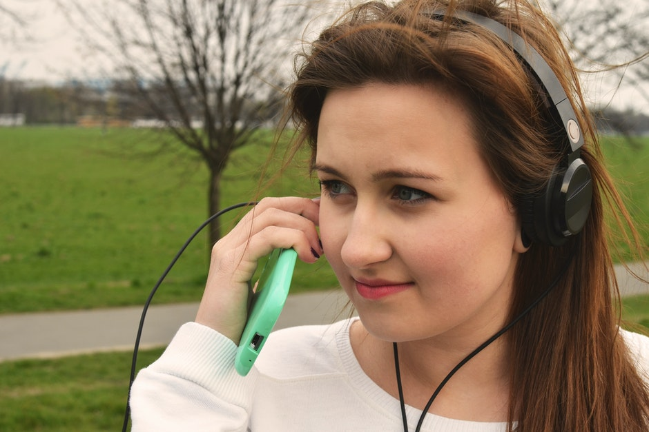 girl, hand, headphone