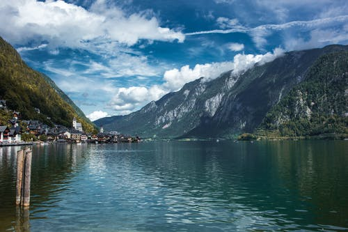 Free stock photo of beatiful landscape, blue sky, Hallstatt, lake