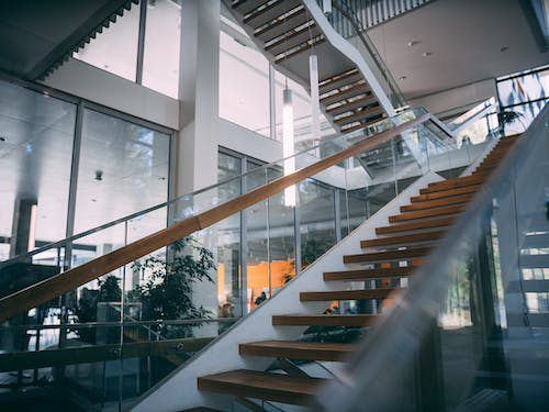 Brown And White Staircase