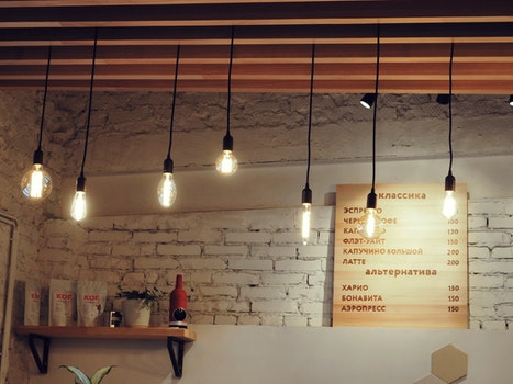 Free stock photo of menu, lamps, room, interior