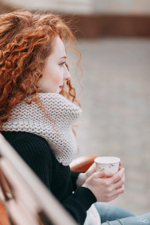 женщина, кофе, красивая