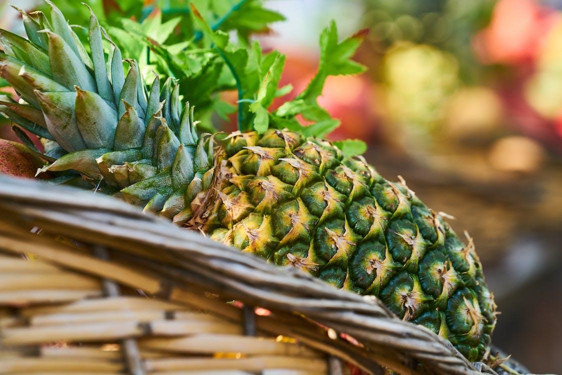 ananas, bokeh, färsk