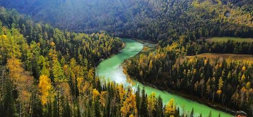 강, 경치가 좋은, 골짜기, 공중 촬영의 무료 스톡 사진