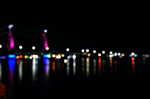 Image Défocalisée Des Lumières éclairées La Nuit