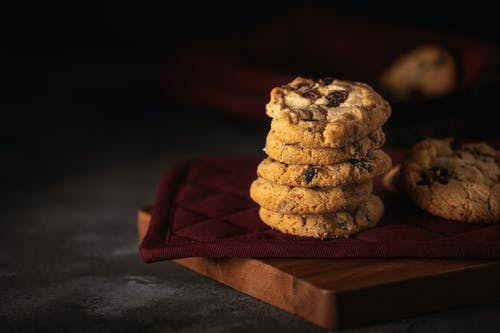Close-Up Photo of Stacked Cookies