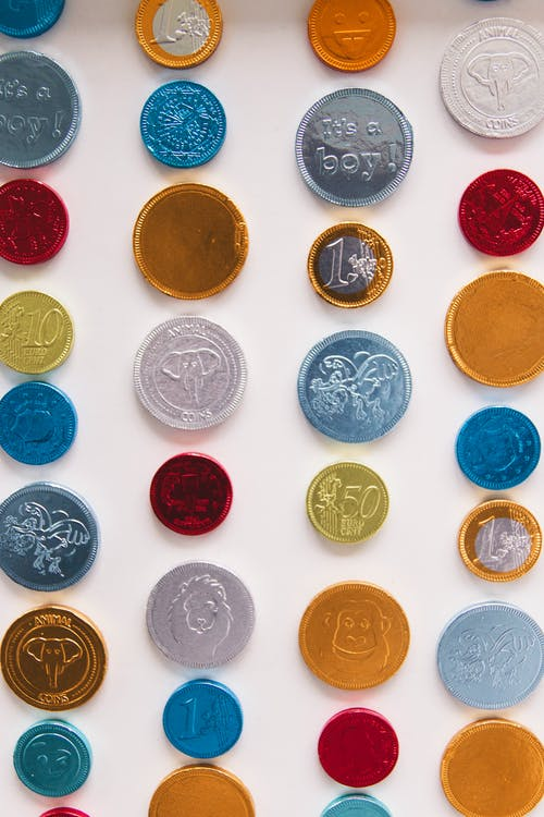 Collection of various colorful coins