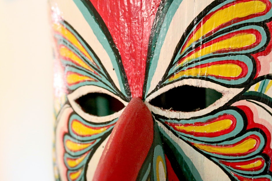 Colorful mask with a butterfly like pattern