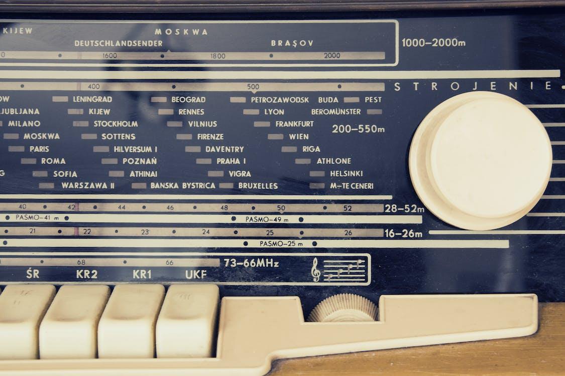 audio, controles, estaciones de radio