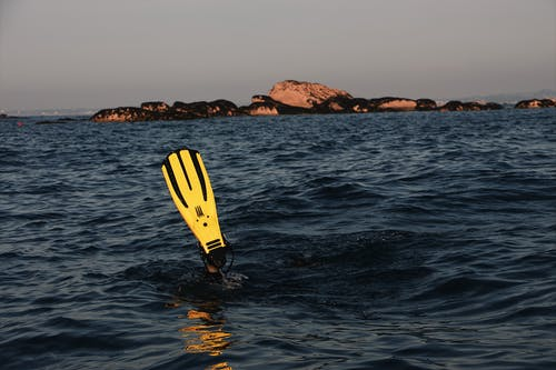 Person Using Yellow Flipper