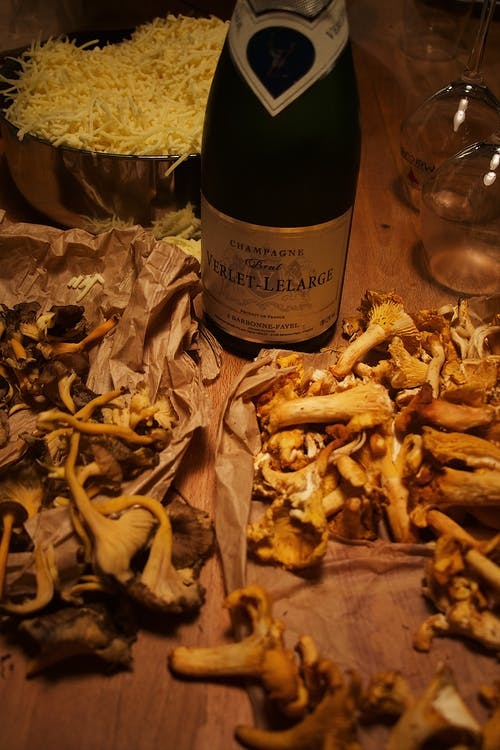 Wine Bottle and Mushrooms